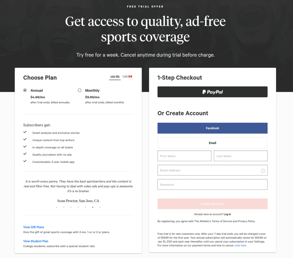 the athletic sign up